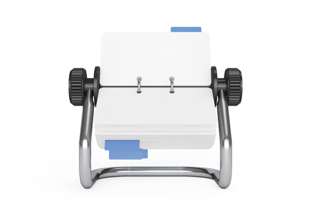 adresses: Rotary Desk Card Index on a white background. 3d Rendering