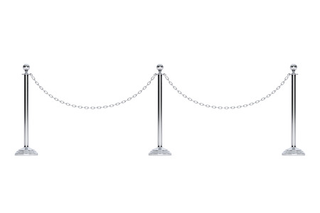 stanchion: Closeup Chain Barrier Stand on a white background. 3d Rendering Stock Photo