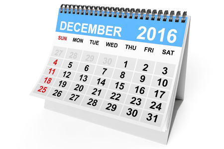 december calendar: 2016 year calendar. December calendar on a white background. 3d Rendering