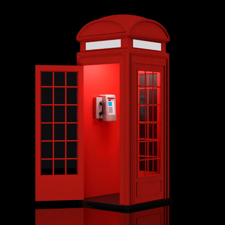 phonebox: Classic British Red Phone Booth on a black background. 3d Rendering Stock Photo