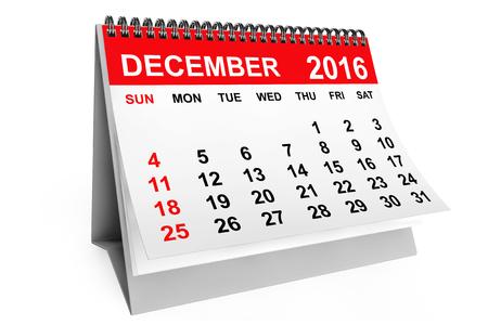 calendario diciembre: 2016 year calendar. December calendar on a white background. 3d rendering