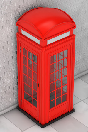 red telephone box: Classic British Red Phone Booth in front of brick wall. 3d Rendering