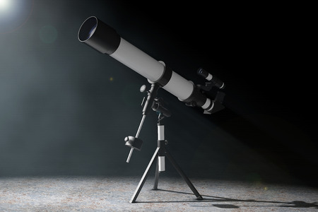 eyepiece: Telescope on Tripod in the volumetric light on a black background. 3d Rendering Stock Photo