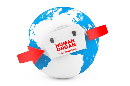 Fridge Box for transporting Human Donor Organs with World Map Globel Earth on a white background. 3d Rendering