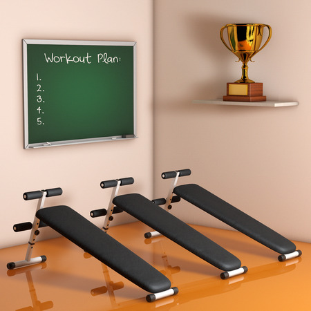 gym room: Exercise bench. Gym Equipment against a wall in the room. 3d Rendering