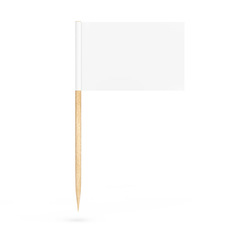 mini: Blank Mini Paper Pointer Flag on a white background. 3d Rendering