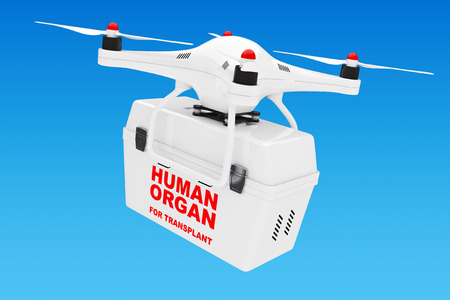 Human Donor Organs delivery by White Quadrocopter Drone on a blue background. 3d Rendering