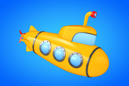 Toy Cartoon Styled Submarine on a blue background. 3d Rendering