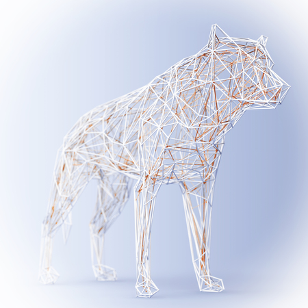Abstract Wired Low Poly Wolf or Dog on a blue background. 3d Rendering