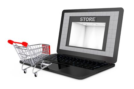 shoppping: Online Shopping Concept. Shoppping Cart over Laptop with Store Building as Screen on a white background. 3d Rendering