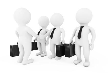 3d Businessman Characters Shaking Hands on a white background. 3d Rendering