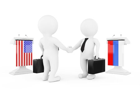 politicians: 3d Businessman or Politicians Characters Shaking Hands near Tribunes with Russian and USA Flags on a white background. 3d Rendering