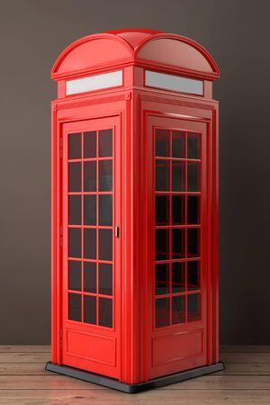 cabina telefonica: Rojo clásico británico cabina de teléfono en un piso de madera. Representación 3d