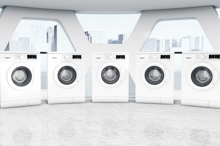 washhouse: Row of Industrial Modern Washing Machines in a Public Washhouse extreme closeup. 3d Rendering