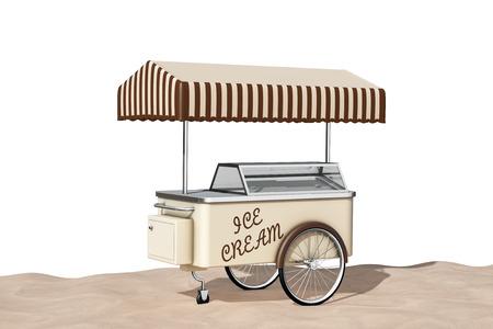carretto gelati: Ice Cream carrello sulla sabbia Sunny Beach estrema primo piano su uno sfondo bianco. Rendering 3D Archivio Fotografico