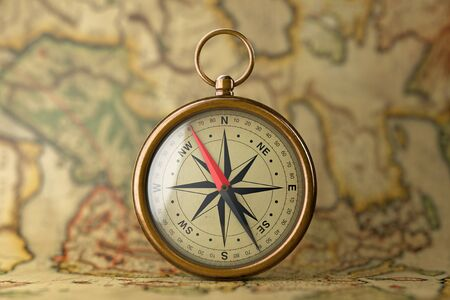 Antique Vintage Brass Compass On A Rare Map Extreme Closeup - Antiques us maps with compass