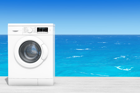 rinse: Modern Washing Machine in front of Ocean extreme closeup. 3d Rendering
