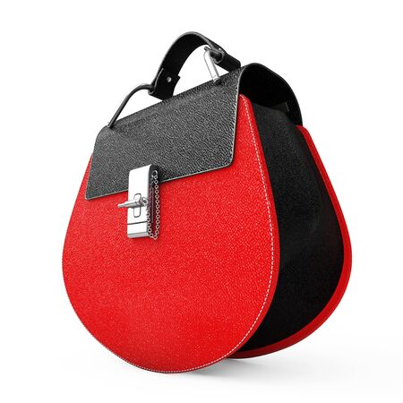 leather bag: Luxury Red Leather Women Bag on a white background. 3d Rendering Stock Photo