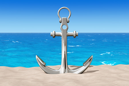 Nautical Anchor on the Sand Sunny Beach extreme closeup. 3d Rendering