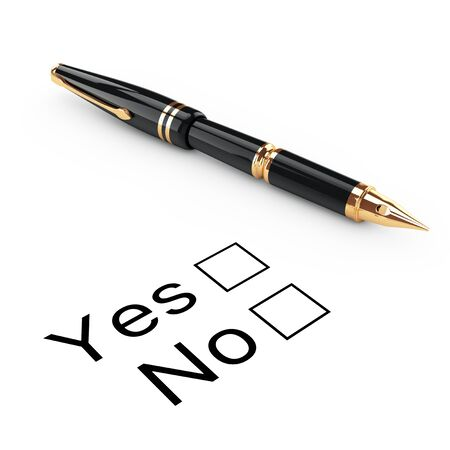 deterioration: Survey Concept. Yes or No Checklist with Golden Fountain Writing Pen on a white background. 3d Rendering