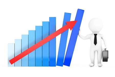 Crisis Manager Concept. 3D Businessman hold a Growth Graph on a white background. 3d Rendering
