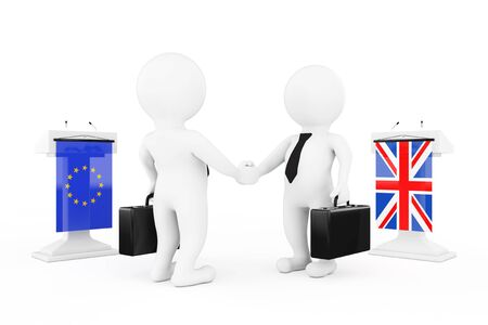 politicians: 3d Businessman or Politicians Characters Shaking Hands near Tribunes with United Kingdom and European Union Flags on a white background. 3d Rendering Stock Photo