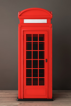 phonebox: Classic British Red Phone Booth on a wooden floor. 3d Rendering