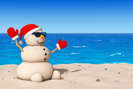 Sandy Christmas Snowman at Sunny Beach extreme closeup. 3d Rendering Stock Photo
