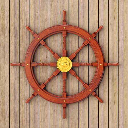 Vintage Wooden Ship Steering Wheel In Front Of Plank Wall 3d Rendering Photo
