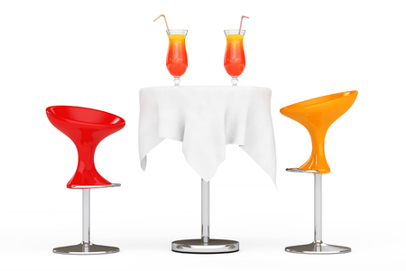 Bar Modern  Stools near Table with Red Tropical Cocktails on a white background. 3d Rendering Stock Photo