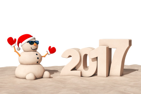 sandy: Sandy Christmas Snowman at Sunny Beach with 2017 Ney Year Sign isolated on a white background. 3d Rendering