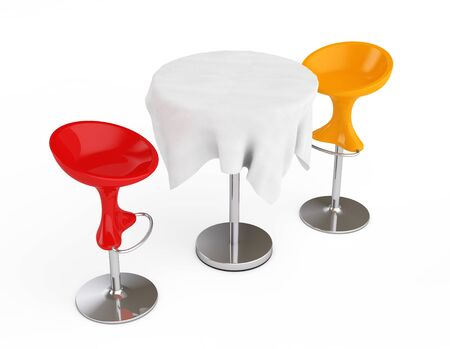 Red and Orange Bar Modern Stools with Table covered Tablecloth on a white background. 3d Rendering
