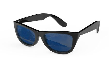 protecting spectacles: Cool Sunglasses In Black Plastic Frame on a white background. 3d Rendering