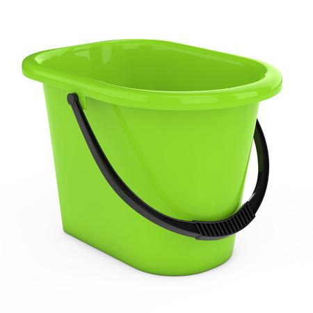 白地にグリーンのプラスチック製のバケツ。3 d レンダリング 写真素材