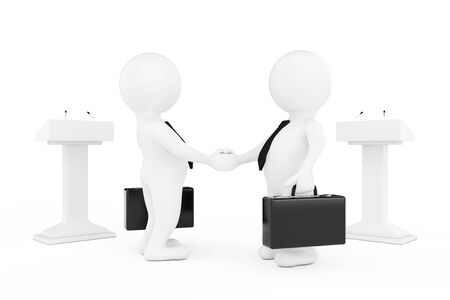 politicians: 3d Businessman or Politicians Characters Shaking Hands near Tribunes on a white background. 3d Rendering
