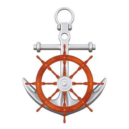 Ship Steering Wheel with Silver Nautical Anchor on a white background. 3d Rendering Stock Photo