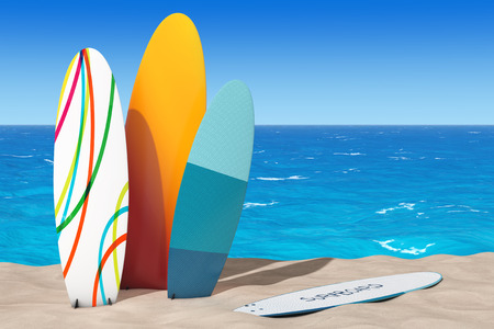 Colorful Summer Surfboards on the Sand Sunny Beach extreme closeup. 3d Rendering  Stock Photo