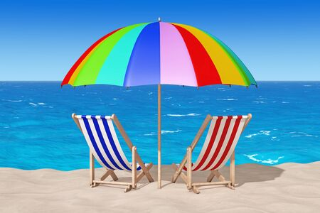 caribbean cruise: Beach Chairs on the Sand Sunny Beach extreme closeup. 3d Rendering  Stock Photo