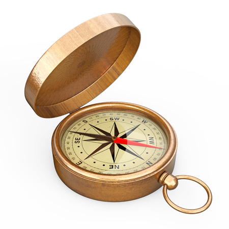 Antique Vintage Brass Compass on a white background. 3d Rendering Stock Photo