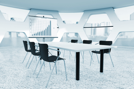 Abstract Bright Office Meeting Room extreme closeupin blue key. 3d Rendering