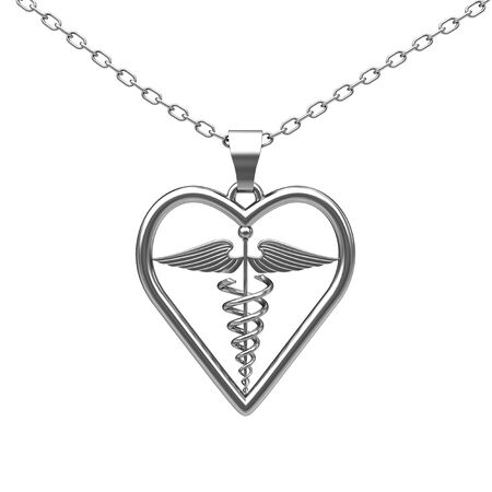 Silver Medical Caduceus Symbol Medallion on a white background. 3d Rendering Stock Photo