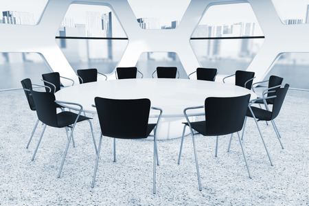 Abstract Bright Office Meeting Room extreme closeup. 3d Rendering