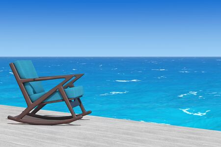 upholstered: Rocking Chair Upholstered with Blue Cloth on a wooden floor in front of Ocean extreme closeup. 3d Rendering Stock Photo