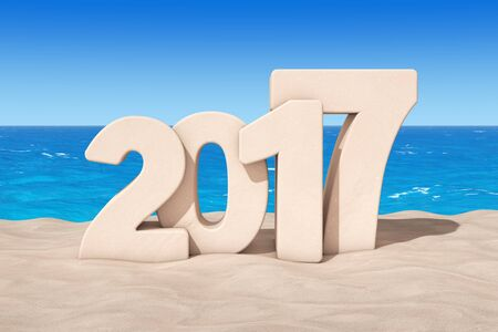 Happy 2017 New Year Concept. 2017 New Year Sign at Sunny Beach extreme closeup. 3d Rendering  Stock Photo