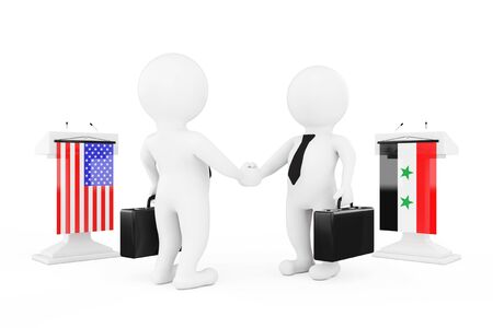 politicians: 3d Businessman or Politicians Characters Shaking Hands near Tribunes with Syria and USA Flags on a white background. 3d Rendering Stock Photo