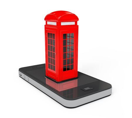 phonebox: Classic British Red Phone Booth over Mobile Phone on a white background. 3d Rendering Stock Photo