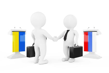 politicians: 3d Businessman or Politicians Characters Shaking Hands near Tribunes with Russian and Ukraine Flags on a white background. 3d Rendering Stock Photo