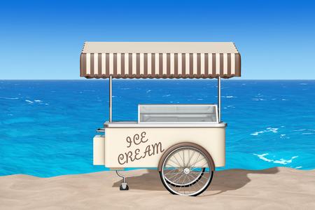 carretto gelati: Ice Cream carrello sulla sabbia Sunny Beach primo piano estremo. Rendering 3D Archivio Fotografico