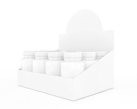 medicine bottles: Blank Medicine Bottles in Big Cardboard Package on a white background. 3d Rendering Stock Photo