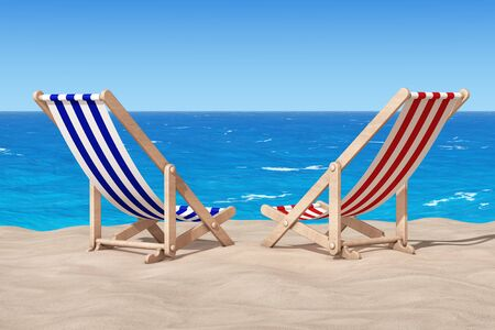 caribbean cruise: Beach Chairs on the Sand Sunny Beach extreme closeup. 3d Rendering